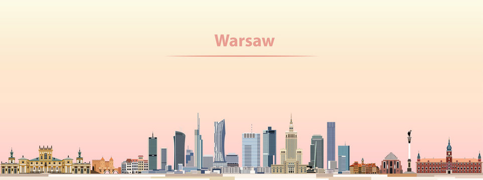 Warsaw vector city skyline at sunrise