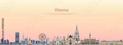 Fototapete Vienna vector city skyline at sunrise