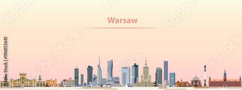 Wall mural Warsaw vector city skyline at sunrise