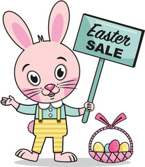Easter Rabbit With A Sale Sign (Vector Illustration)