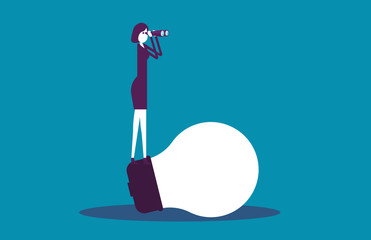 Businesswoman on light bulb and searching to success. Vector illustration idea business concept.