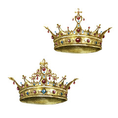 Gold Crowns. Watercolor Illustration.