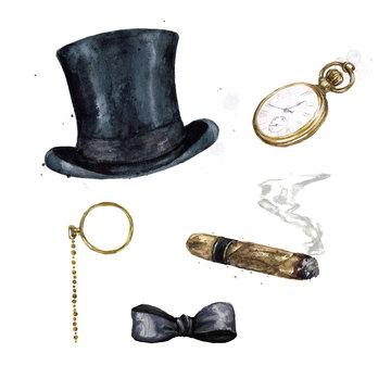 Gentlemen Accessories. Watercolor Illustration.