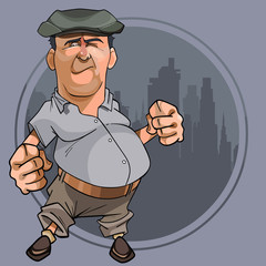 cartoon bellied man with fists in cap