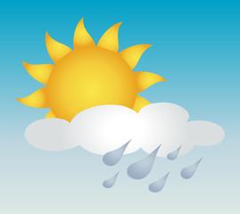 Sun with cloud and rain vector