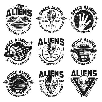 Ufo and aliens collection of nine emblems, labels, badges, stickers and prints isolated on white background. Vector illustration in vintage style