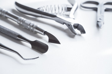 Professional tools for manicure. The concept of medicine and beauty.