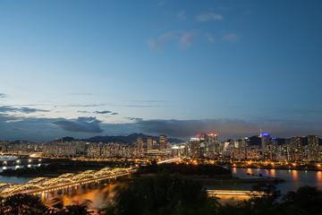 한강과 서울풍경 Fotobehang