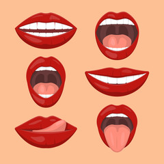 Woman emotions, girl mouth with red lips icon set. Flat vector style