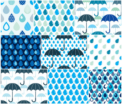 Falling rain drops and umbrellas water vector seamless patterns set, weather and nature theme blue colored repeat endless backgrounds collection, dew water dripping.