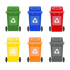 Set of colorful garbage cans on white background.