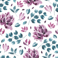 Blossoms collection. Watercolor flower and floral pattern #2