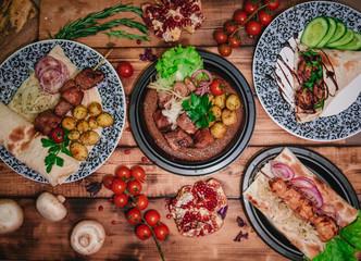 shish kebabs on the table