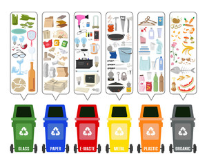Set of colorful garbage cans with sorted garbage on white background.