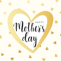 Happy Mother's day card, gold contour heart with little hearts. Vector illustration. Vector card, badge for Mother's day. Love Mom concept