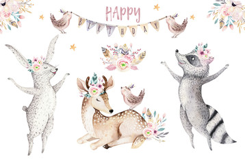 Cute baby giraffe, deer animal nursery mouse and bear isolated illustration for children....