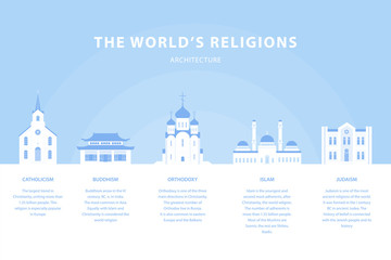 Temples. Collection of buildings. Church of world religions. Orthodoxy, Judaism, Catholicism, Islam, Buddhism. Traditional architecture. Vector illustration