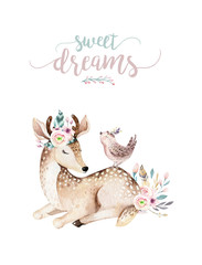 Cute baby deer animal nursery isolated illustration for children. Watercolor boho forest cartoon...