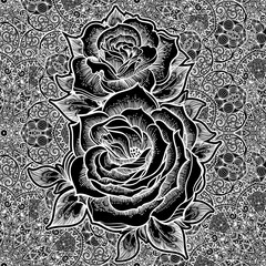 Seamless paisley rose background elegant pattern.