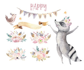 Cute jumping raccoon animal illustration for kids Watercolor boho forest cartoon Birthday patry Balloons invitation Perfect for nursery posters, patterns