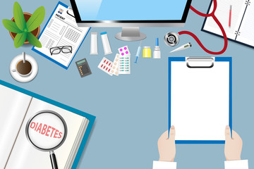 Top view of a medical table with doctor accessories. Doctor is holding blank paper ready for your text. The magnifying glass magnifies the inscription Diabetes in an open book.