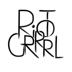 RIOT GRRRL . Handwritten text .Feminism quote, woman motivational slogan. Feminist saying. Brush lettering.  Vector design.