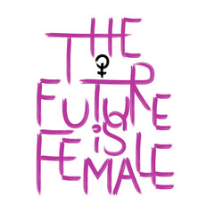 The future is female . Handwritten text .Feminism quote, woman motivational slogan. Feminist saying. Brush lettering.  Vector design.