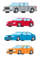 Set of cars side view different colors. Hatchback sedan pickup truck car icon detailed. Vector illustration.