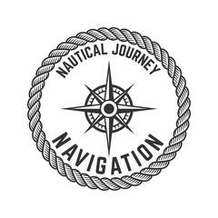 Nautical journey. Emblem with Rose of Wind. Design element for logo, label, emblem, sign, badge.
