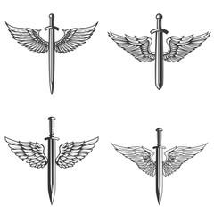 Set of emblems with medieval sword and wings. Design element for logo, label, emblem, sign.
