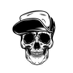 Skull in baseball cap. Design element for poster, emblem, t shirt.