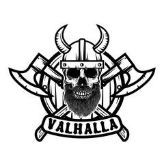 Skull in horned viking helmet. Design element for poster, emblem, t shirt.