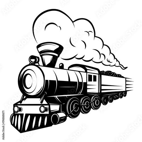 Retro Train Illustration Isolated On White Background Design