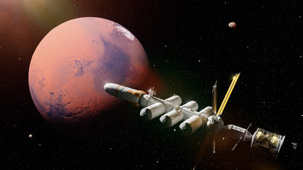 futuristic space ship in orbit of the planet Mars, mission to the red planet