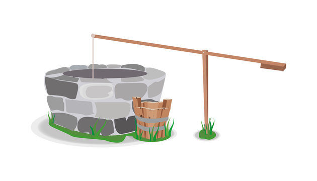 well tree bucket water stone grass vector.