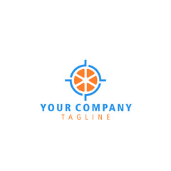 Logo template. Abstract target logo. Target orange fruit logo. Creative graphic design element, sign, symbol on white background.