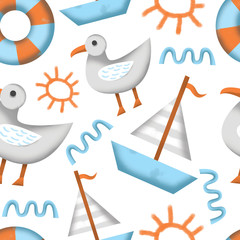 Beach holiday seamless pattern illustration with gull, seagull, sun, sea wave, rescue wheel and boat.