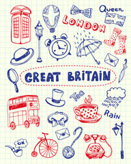 Great Britain associated symbols. English national, cultural, culinary, sportive, historical, architectural, animal, fashion related doodles drawn on squared paper vector set. Sketched with pen icons
