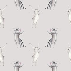 Cute family baby raccon, deer and bunny. animal nursery giraffe, and bear isolated illustration. Watercolor boho raccon drawing nursery seamless pattern. Kids background, nursery print