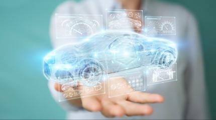 Businesswoman using modern smart car interface 3D rendering