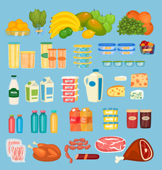 Daily food products icons. Fruits, preserves, dairy products, juices in pack and bottles, jams, meat, sausages vector illustrations set. For diet and healthy nutrition concept, grocery store ad design