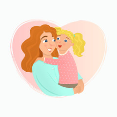 Mother and daughter hugging. Vector illustration.