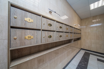 interior with mailboxes