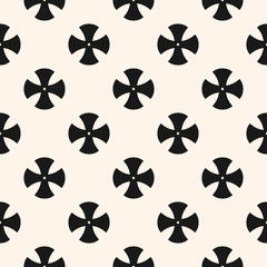 Simple floral pattern. Vector minimalist seamless texture with cross shapes