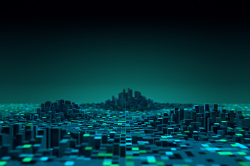 Wall Murals Green blue Futuristic technology data background,Cyberspace game city.3d rendering