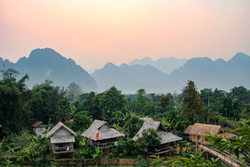 Sunset in Vang Vieng, Laos, South East Asia