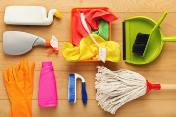 Various cleaning supplies, housekeeping background