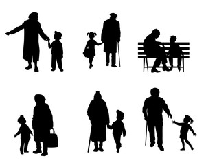 Elderly people with grandchildren