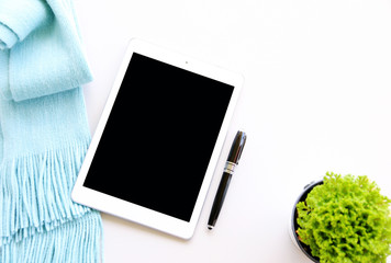 business Concept,Working with digital tablet computer and pen on table background,Top view,flat lay