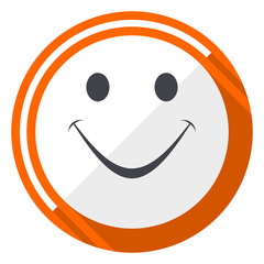 Smile orange flat design vector web icon